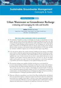 Urban Wastewater as Groundwater Recharge - IGRAC