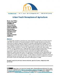 Urban Youth Perceptions of Agriculture - Journal of Youth Development