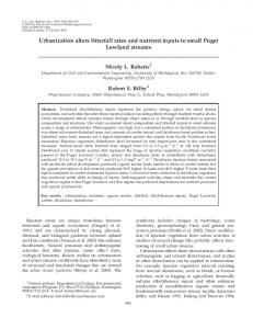 Urbanization alters litterfall rates and nutrient inputs to small Puget ...