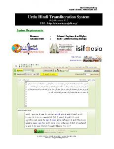 Urdu Hindi Transliteration System