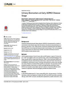 Urinary Biomarkers at Early ADPKD Disease Stage - Semantic Scholar