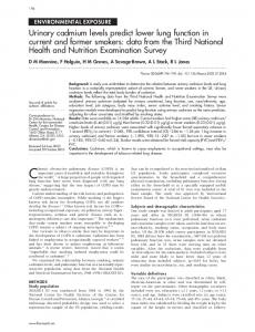 Urinary cadmium levels predict lower lung function in current ... - NCBI