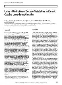 Urinary Elimination of Cocaine Metabolites in Chronic Cocaine Users ...