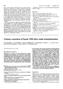 Urinary excretion of factor VIII after renal transplantation - Europe PMC
