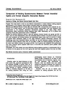 Urinary Incontinence Comparison of Voiding Questionnaires Between ...