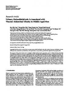 Urinary Malondialdehyde Is Associated with Visceral Abdominal ...