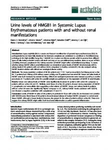 Urine levels of HMGB1 in Systemic Lupus Erythematosus patients with ...