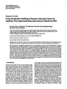 Urine Metabolite Profiling of Human Colorectal Cancer by Capillary ...