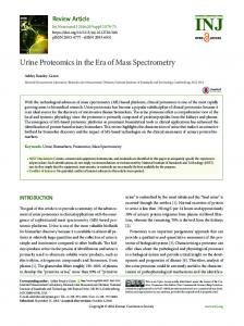 Urine Proteomics in the Era of Mass Spectrometry - Semantic Scholar
