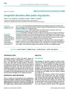 Urogenital disorders after pelvic ring injuries - BioMedSearch