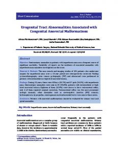 Urogenital Tract Abnormalities Associated with Congenital Anorectal