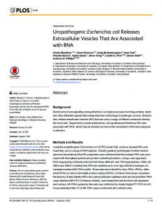Uropathogenic Escherichia coli Releases Extracellular ... - PLOS