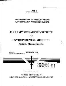 US ARMY RESEARCH INSTITUTE OF