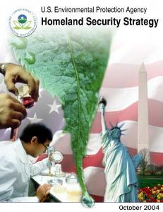 U.S. Environmental Protection Agency Homeland Security Strategy