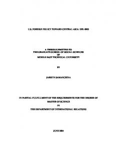 us foreign policy toward central asia: 1991-2003 a thesis ... - CiteSeerX