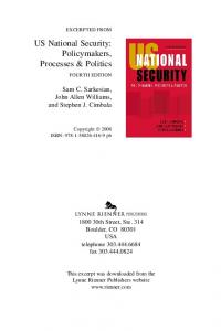 US National Security: Policymakers, Processes & Politics - ISSAT