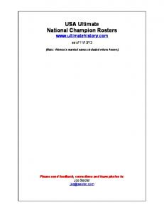 USA Ultimate National Champion Rosters - Ultimate History