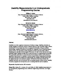 Usability Measurements in an Undergraduate Programming Course