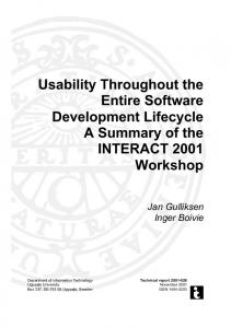 Usability Throughout the Entire Software ... - Uppsala University