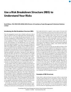 Use a Risk Breakdown Structure (RBS) to Understand ... - Risk Doctor
