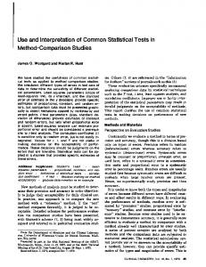 Use and Interpretation of Common Statistical ... - Clinical Chemistry