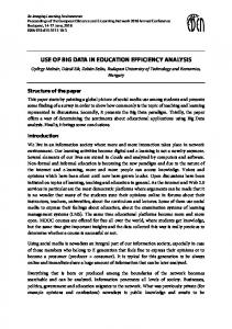 Use of Big Data in Education Efficiency Analysis - European Distance ...