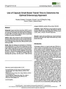 Use of Capsule Small Bowel Transit Time to ... - Semantic Scholar
