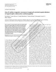 Use of cardiac magnetic resonance imaging for alcohol septal ablation ...