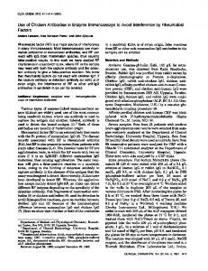 Use of Chicken Antibodies in Enzyme ... - Clinical Chemistry