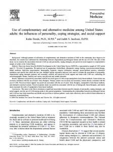 Use of complementary and alternative medicine among ... - MIDUS