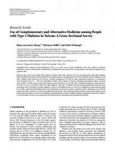 Use of Complementary and Alternative Medicine among People with ...
