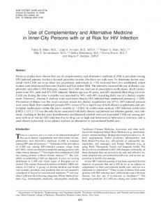 Use of Complementary and Alternative Medicine in Inner-City Persons ...