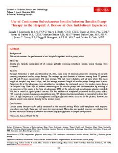 Use of Continuous Subcutaneous Insulin Infusion (Insulin Pump ...