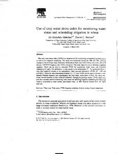 Use of crop water stress index for monitoring water - Agricultural ...