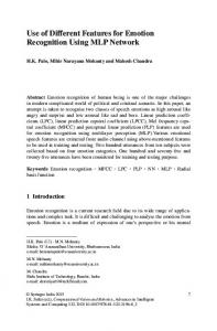 Use of Different Features for Emotion Recognition Using ... - Springer