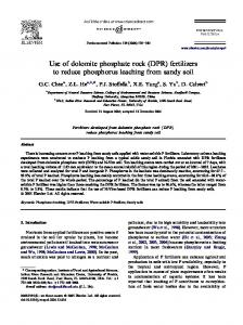 Use of dolomite phosphate rock (DPR) fertilizers to reduce ...
