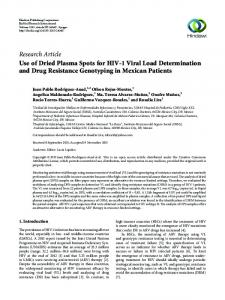 Use of Dried Plasma Spots for HIV-1 Viral Load Determination and ...