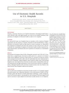 Use of Electronic Health Records in US Hospitals - CiteSeerX