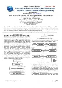 Use of Gabor Filters for Recognition of Handwritten ... - Semantic Scholar