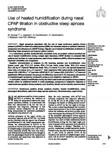 Use of heated humidification during nasal CPAP titration - CiteSeerX