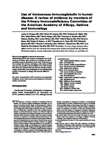 Use of intravenous immunoglobulin in human disease: A review of ...