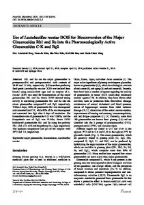 Use of Lactobacillus rossiae DC05 for Bioconversion of ... - Springer Link