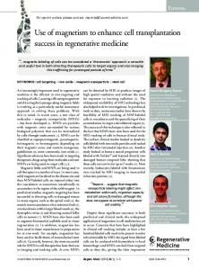 Use of magnetism to enhance cell transplantation ... - Future Medicine