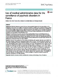 Use of medical administrative data for the ... - BMC Psychiatry