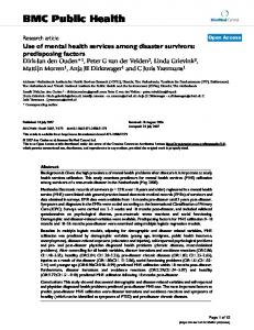Use of mental health services among disaster survivors: predisposing ...