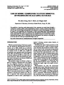 use of model compounds to study removal of pharmaceuticals using