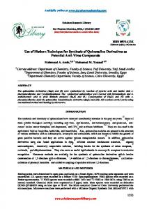 Use of Modern Technique for Synthesis of Quinoxaline Derivatives as ...