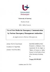 Use of New Media for Emergency Communication by ...