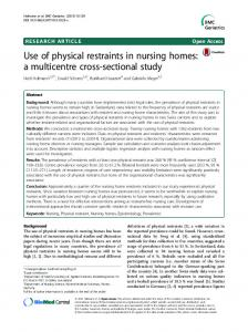 Use of physical restraints in nursing homes: a ... - Semantic Scholar