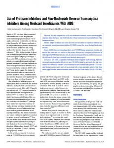 Use of Protease Inhibitors and Non-Nucleoside Reverse Transcriptase ...